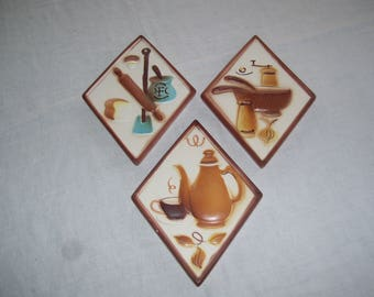 Kitchen Wall Hangings Wall Plaques Set of 3  Lefton China 3003 1960s Vintage