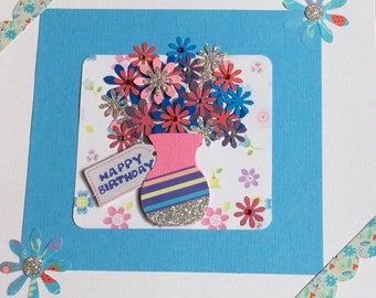 Large Flowers In A Vase Card
