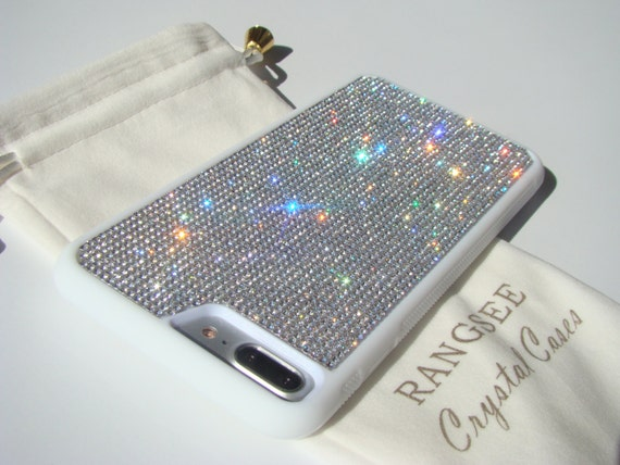 iPhone 8 Plus / iPhone 7 Plus Case Clear Diamond Rhinestone Crystals on White Rubber Case. Velvet/Silk Pouch Bag Included, .