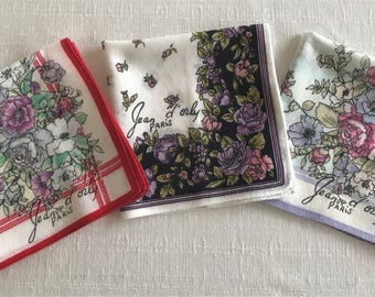 3 Vintage Jean d' orly Paris Hankies, Vintage Designer Handkerchiefs, Set of 3 Designer Vintage Jean d' Orly Hankies