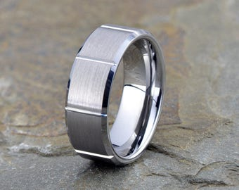 Tungsten Wedding Band, Brushed Tungsten Wedding Ring, Polished beveled edge, Grooved, Mens Tungsten Ring, Anniversary Ring, 8mm width