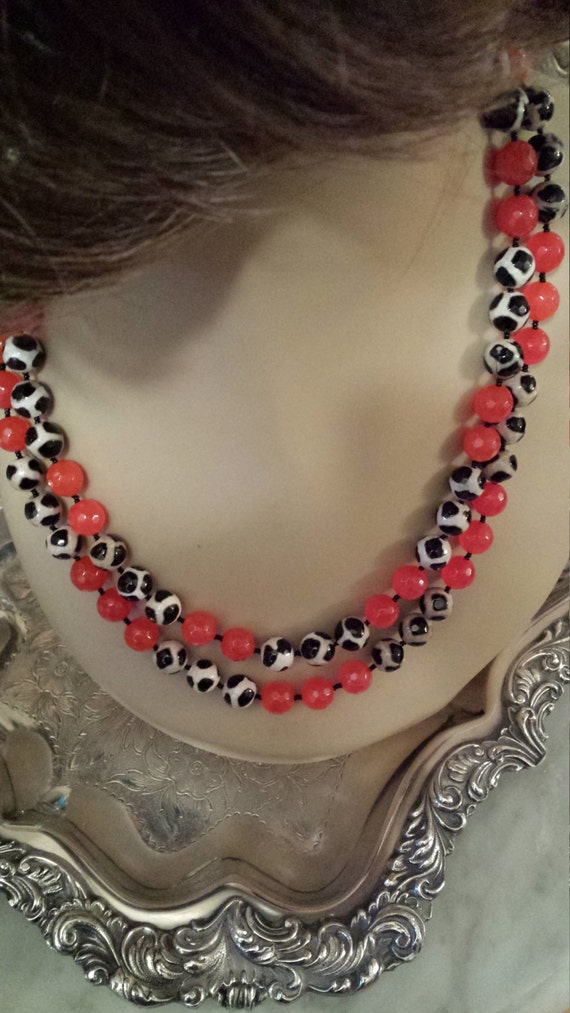 Red jasper and painted jasper two strand necklace