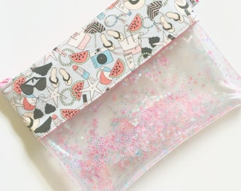 Glittered Pouch Summer goodies plastic/ fabric  zippered pouch