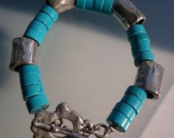 Chunky Faux Turquoise Silver Hamsa Bird Bracelet