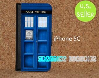 iPhone 5c Wallet Case, Doctor Who Tardis, iPhone 5c Flip Case