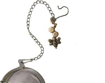 Tea Infuser Bee Charm Mixed Metals