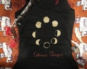 Moon Phase Cycle Tank. For Yogis and Yoginis, Moon Lovers and Night Owls. Handmade, hand-printed, unique cotton top for all the wild ones!