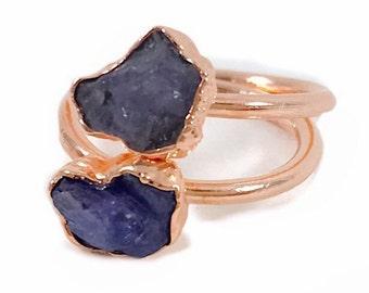 Raw Stone Ring, Tanzanite Ring, Raw Crystal, Electroformed Ring, Copper Ring, Purple Gemstone, December Birthstone, Stacking Ring, Healing
