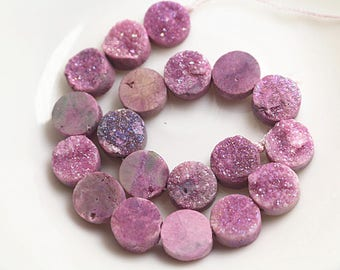1 Strand of Druzy Beads, Druzy Agate Beads, Pink Round Drilled Druzy Beads (10mm 12mm 14mm)