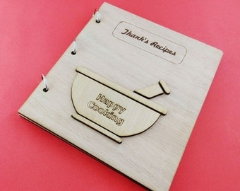 """Personalized recipe book  - All text on the wooden covers, can be personalized!  """"Mortar & Pestle"""""""