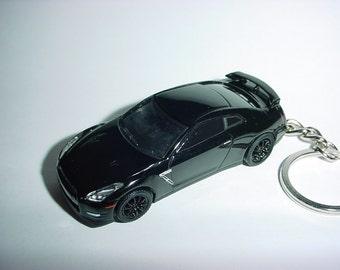 3D 2015 Nissan Skyline GT-R35 custom keychain by Brian Thornton keyring key chain finished in black color trim r 35 gtr nismo