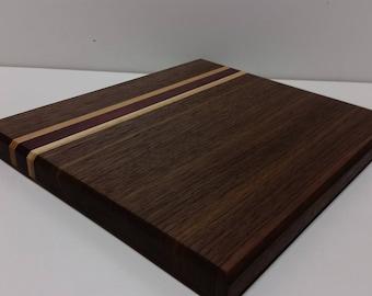 butcher block cutting board walnut purple heart and hickory cutting board butcher