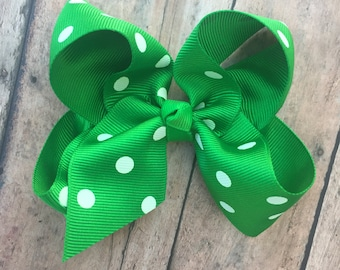 "Hair Bow - 4"" Hair Bow - Green Bow - Basic Hair Bow - Boutique Hair Bow - Polka dot Hair Bow - Simple Hair Bow - Green and white bow"