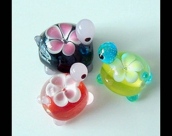 3PCS Of Lampwork Beads,Cute Lampwork Focal Beads,Turtle Beads/Bracelet Beads/Earring Beads/Necklace Beads
