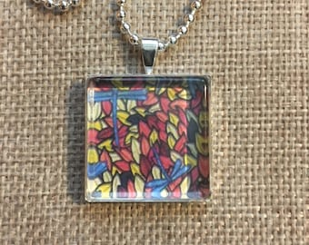 Fall Dragonflies Art Pendant and Chain Necklace- Original Painting and Beveled Glass