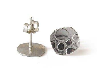 Handmade Jewellery, Silver Post Earrings, Small Silver Earrings, Pebble Earrings