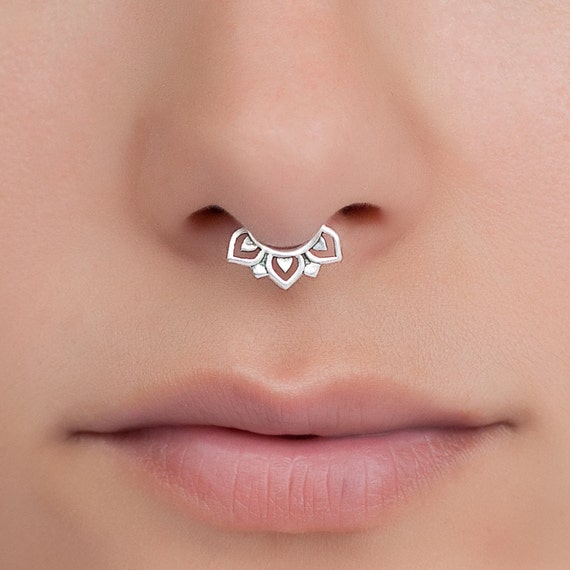 Tiny Fake Septum Ring. fake septum piercing. Available in Sterling silver, Gold plated or Brass