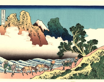 "Japanese Ukiyo-e Woodblock print, Katsushika Hokusai, ""The back of Fuji from the Minobu river, Thirty-six Views of Mount Fuji"""