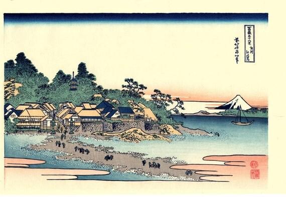 "Japanese Ukiyo-e Woodblock print, Katsushika Hokusai, ""Enoshima in Sagami Province, Thirty-six Views of Mount Fuji"""