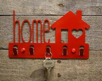 Home with a House and Heart Decorative Keyholder / Wall Hook / Key Rack