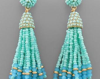 Mint Glass & Seed Bead Tassel Earrings