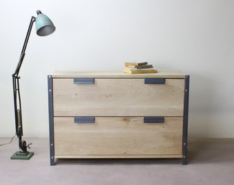 INDUSTRIAL Drawers - 2 Drawer - Solid Oak - Bedroom Furniture