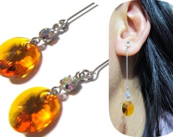 Orange Swarovski Rhinestone Clip-on earrings |11A| Dangle bridal clip on earrings Comfortable Wedding clip on earrings Non pierced earrings