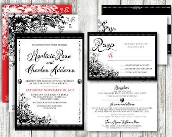 Gothic 'Lovely Little Skull' *Digital Printable Wedding Invitation Set* PACKAGE & COLOUR Options