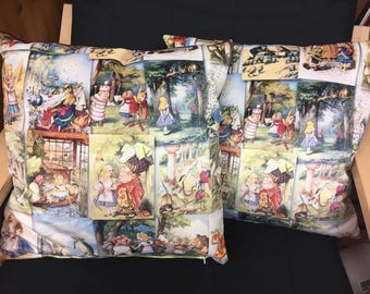 "Alice in Wonderland Velvet Cushion 16"" with cushion pad"