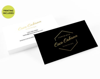 Lux Gold & Black Printed Business Cards - business cards,business card design,custom business card,cards,printing,hair,makeup,boutique,shop