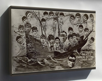 Canvas 24x36; 1909 Pittsburgh Pirates On A Boat Final