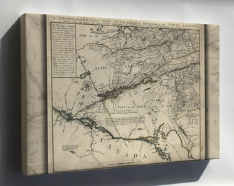 Canvas 24x36; Map New England Vermont New Hampshire N York 1780