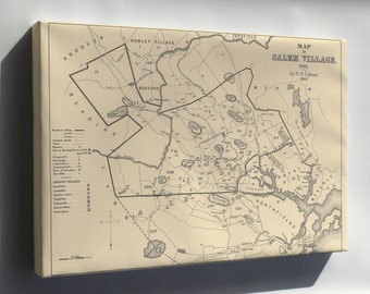 Canvas 24x36; Salem Village Map Of 1692, At The Start Of The Salem Witch Trials,  Charles W. Upham, Salem Witchcraft,