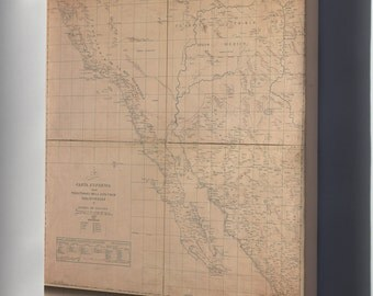 Canvas 24x36; Map Of Baja California 1823