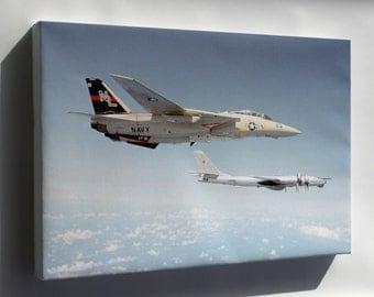 Canvas 24x36; F-14 Tomcat (Vf-51) Intercepts Soviet Tu-95Rts Bear D 1979