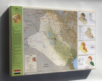 Canvas 24x36; Cia Iraq Summary Map 1994