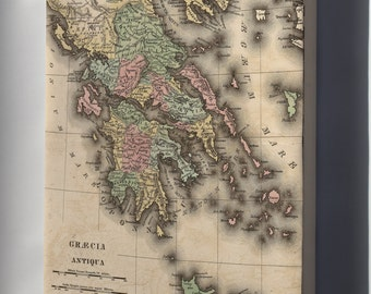 Canvas 16x24; Map Of Greece In Antiquity 1826