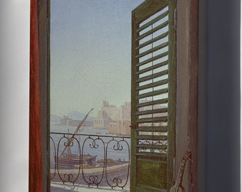 Canvas 16x24; Balcony Room With A View Of The Bay Of Naples (Via Santa Lucia And The Castel Dell'Ovo) By Carl Gustav Carus
