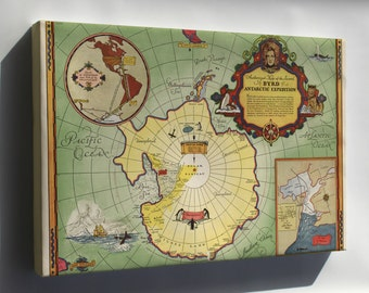 Canvas 16x24; Map 2Nd Admiral Byrd Antarctica Expedition 1934