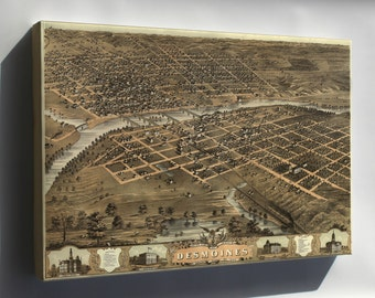 Canvas 16x24; Birdseye View Map Of Des Moines, Iowa 1868