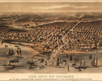 16x24 Poster; Map Of City Of Chicago Before The Fire 1871
