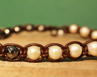 Pearl wrap bacelet; leather choker weave macrame; freshwater pearl and silver beads