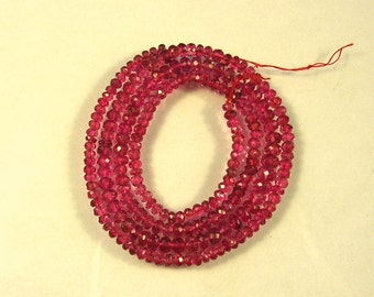 """Pink spinel  faceted rondelle beads AAA 2.5-4.5mm 17"""" strand"""