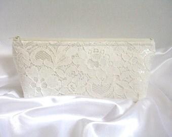 Ivory Satin Clutch - Ivory Lace Clutch - Wedding Clutch - Sequin Clutch - Bridesmaid Clutch - Brides Purse - Ivory Sequin Clutch Purse