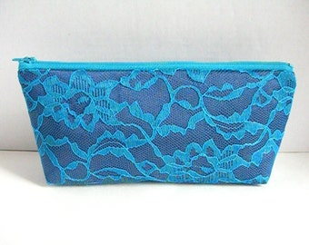 Navy Blue Satin Clutch - Turquoise Clutch - Bridesmaid Makeup Bag - Wedding Clutch - Bridesmaid Clutch - Bridesmaid Gift - Navy Blue Purse