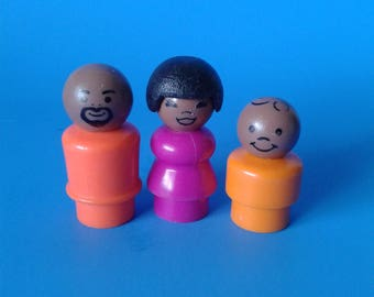 "Fisher Price Little People "" Family Father Mother Son AA "" 1970's"