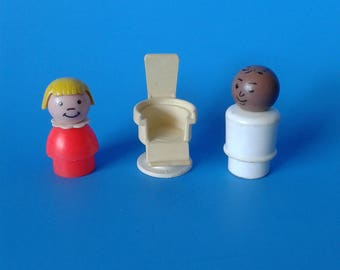 """Fisher Price Little People """" Dentist - Doctor AA w/ Girl & Chair """" 1970's"""