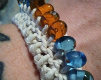 Crocheted beaded bracelet, crocheted bracelet, beaded bracelet, beaded jewelry, crocheted jewelry, bracelet, blue and orange, blue, orange
