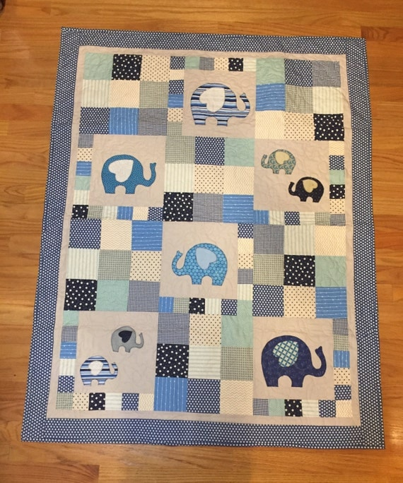 Crib Quilt Size: Handmade Baby Boy Crib Size Quilt With Elephant Appliqués And