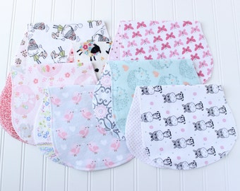 Baby Girl Burp Cloths - Set of 7 - Baby Shower Gift - Baby Gift
